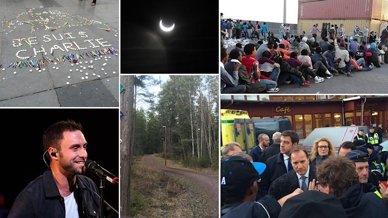 Kommer du ihåg vad som hände under 2015? Fotokollage: Alexander Letic/Sveriges Radio