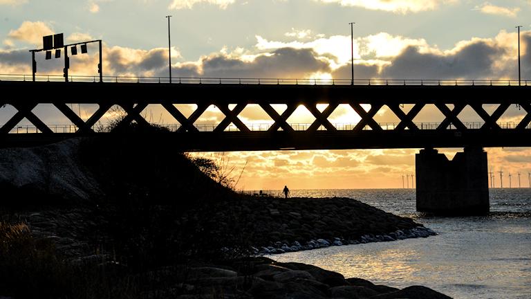 Bild på Öresundsbron i solnedgång.