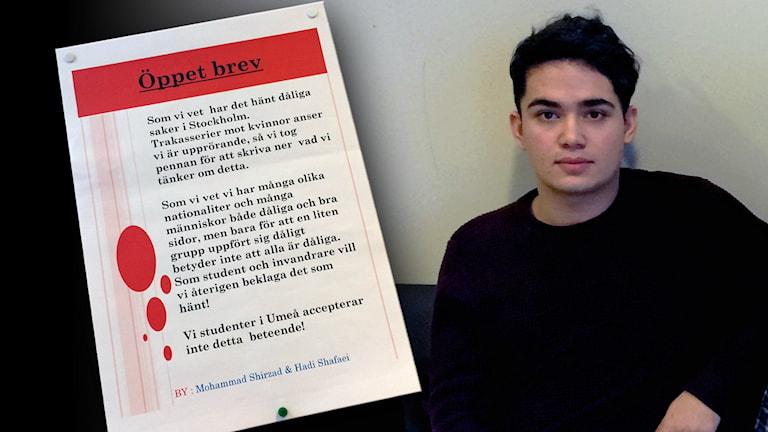 Bild på Muhamed Shirzads öppna brev och honom själv. Foto: Amanda Darehed/Sveriges Radio