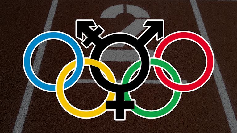 Bild på Os-ringarna där ringen i mitten är en transsymbol. Foto: Pixabay