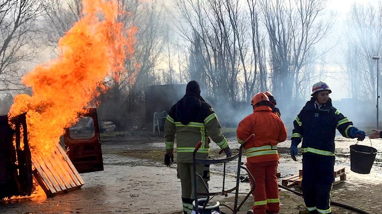 The firefighters and teens practise working together to put out fires. Photo: Paloma Vangpreecha/Sveriges Radio.