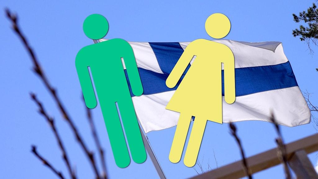 De klassiska siluetterna av en man och en kvinna framför den finska flaggan