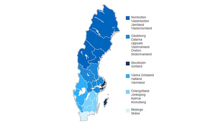 Karta över hur regionerna kan komma att se ut.