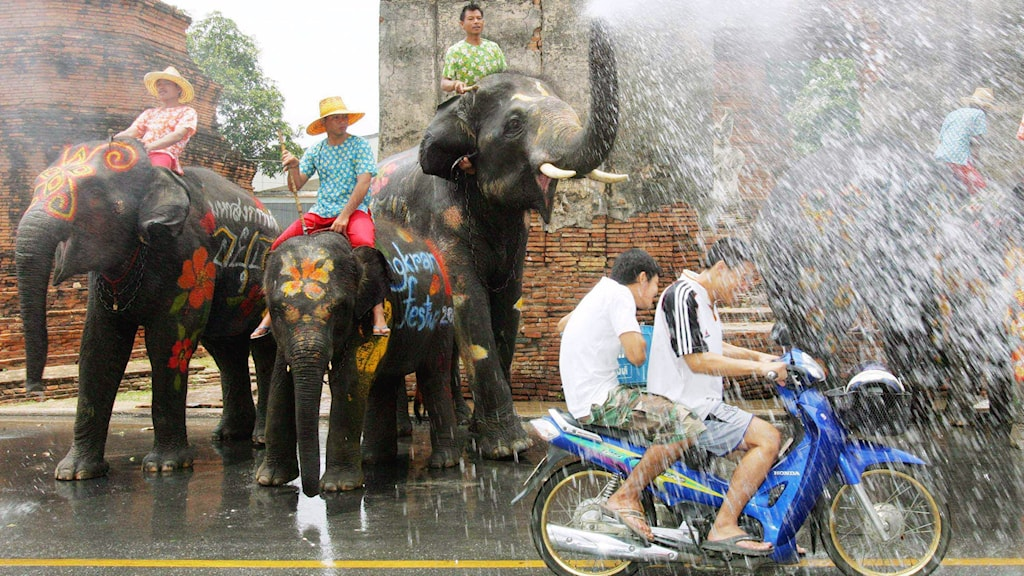 Bild på två elefanter som sprutar vatten över motorcykelförare under det thailändska nyåret.