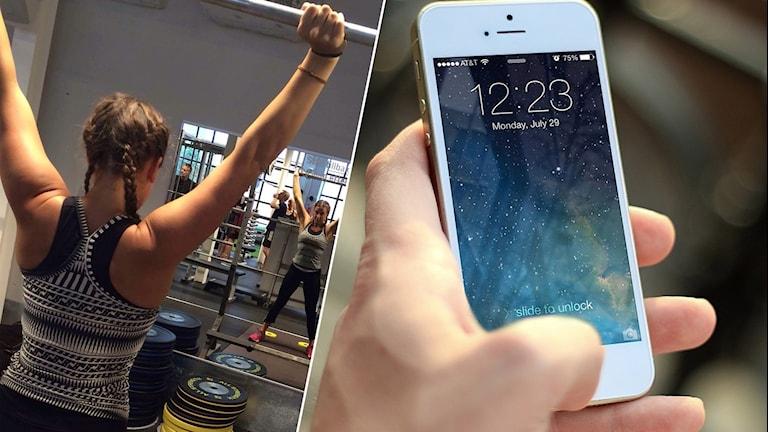 Bild på Felicia när hon tränar och en mobiltelefon.