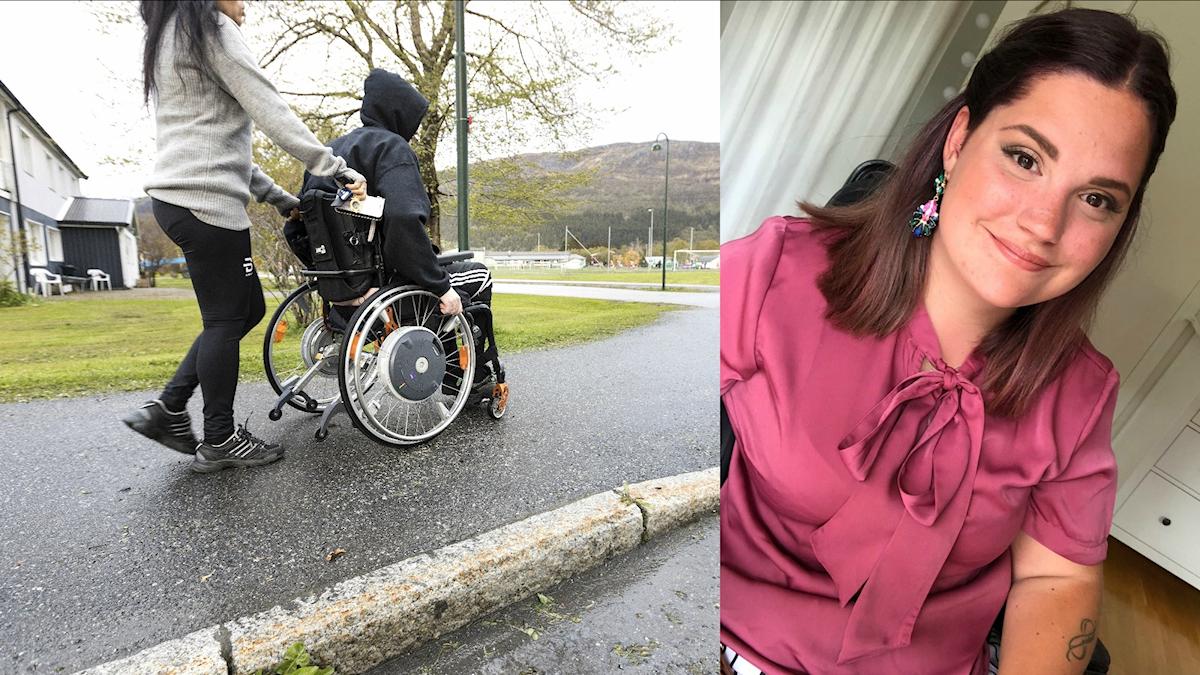 Amanda Wernersdotter (t.h.) har fått färre timmar med en personlig assistent. Personen till vänster har inget samband med artikeln.