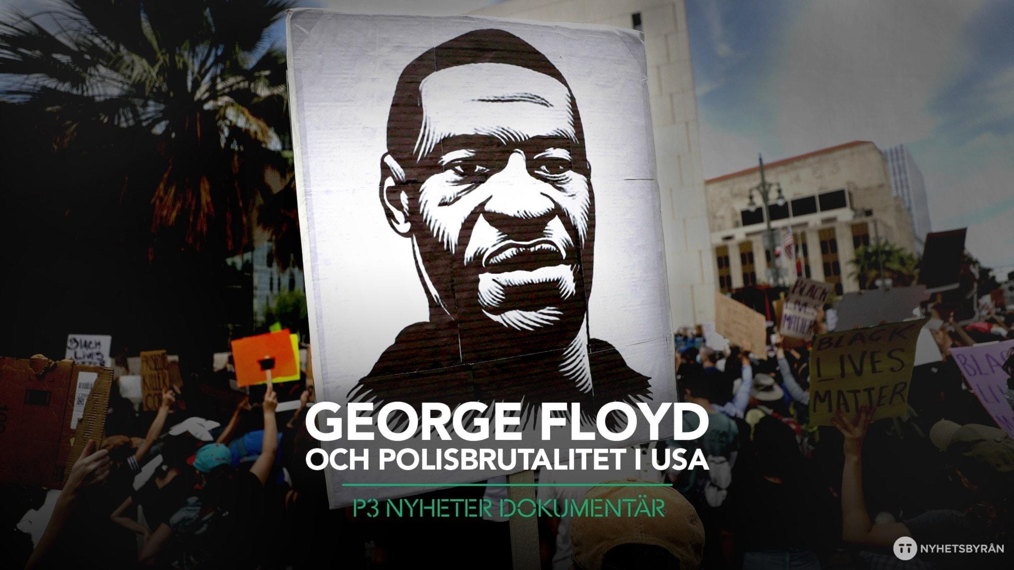 Skylt med bild på George Floyd.