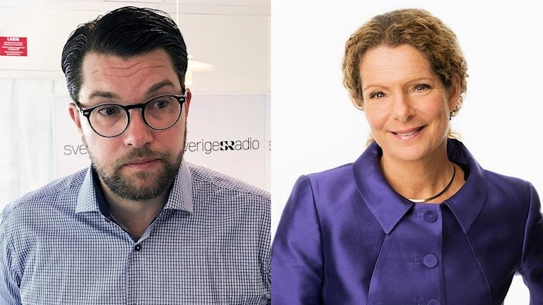 Jimmie Åkesson, partiledare Sverigedemokraterna och Cilla Benkö, vd Sveriges Radio