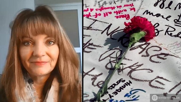 En bild på Coni Sanders och en ros på en minnesplats för offren som sköts på Columbine High School