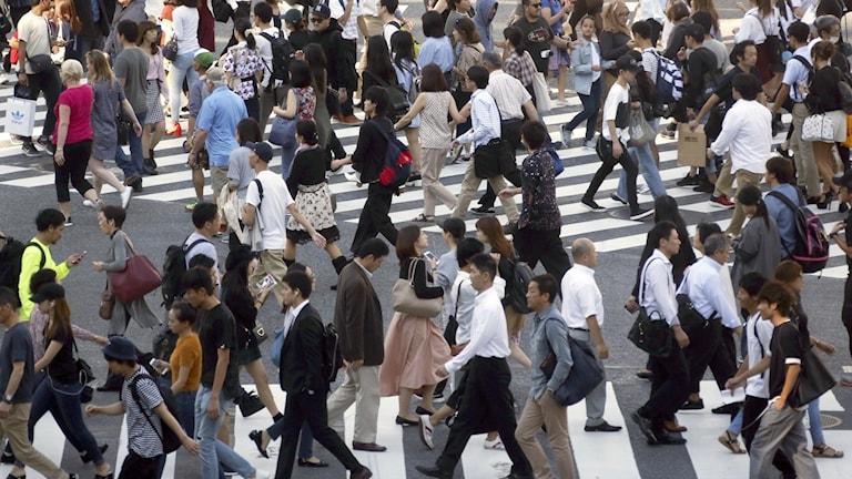 Människor på övergångsställe i Tokyo.