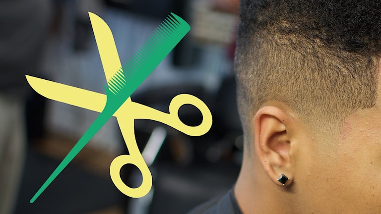Bild på en kille hos frisören.