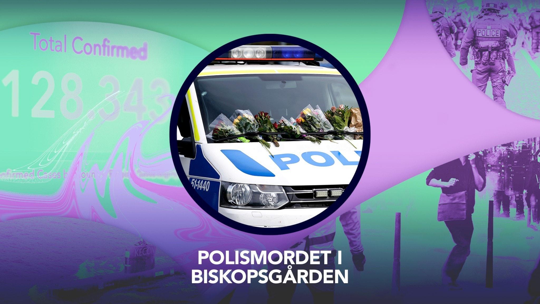 Omslagsbild P3 Nyheter Dokumentär. Polisbil med blommor på.
