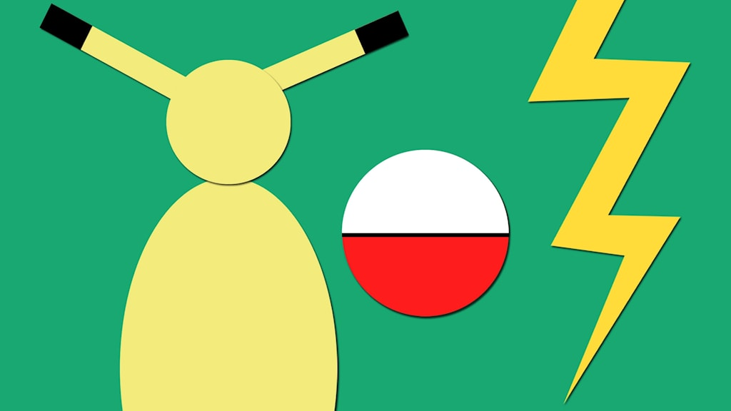 Tecknad bild på Pikachu, en pokéboll och en blixt.