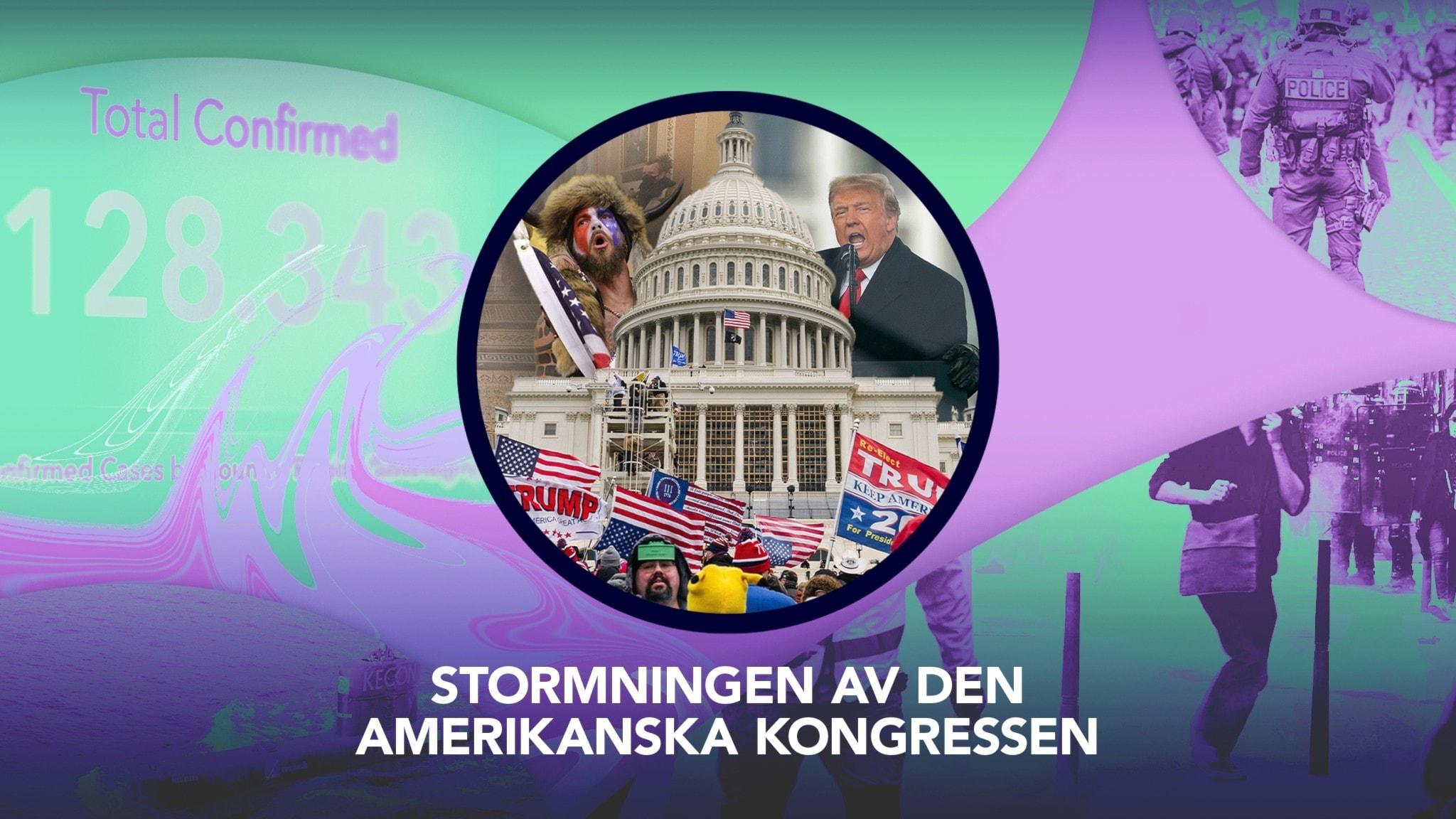 Omslag P3 Nyheter Dokumentär, bilder på en man med pälsmössa, Donald Trump och den amerikanska kongressen.