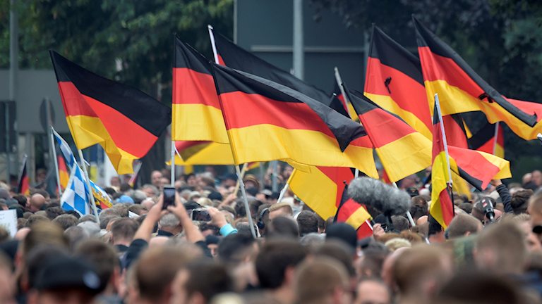 Demonstration med tyska flaggor över huvuden.