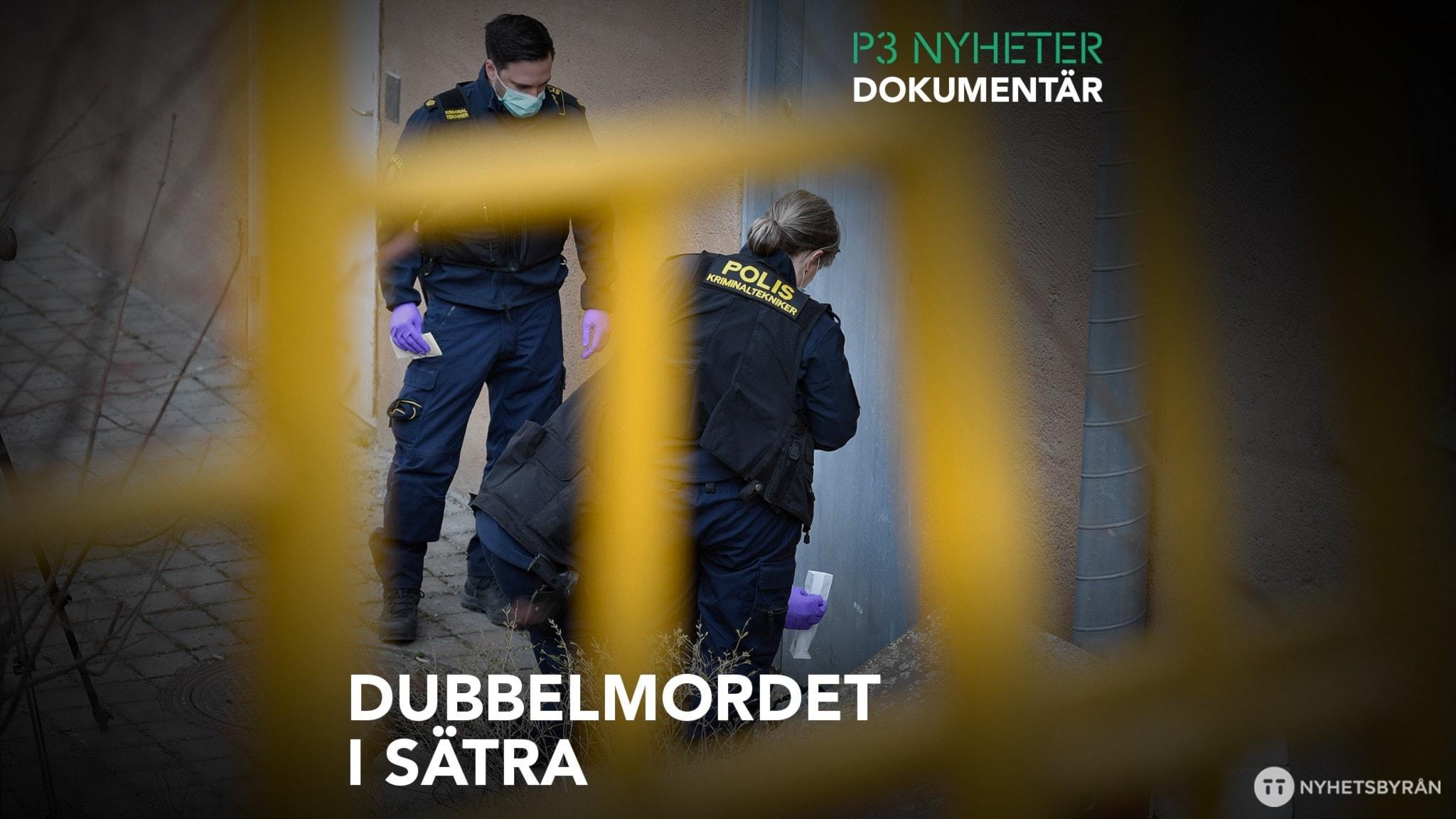 Poliser som fotograferar utanför en källare där två personer hittats döda.
