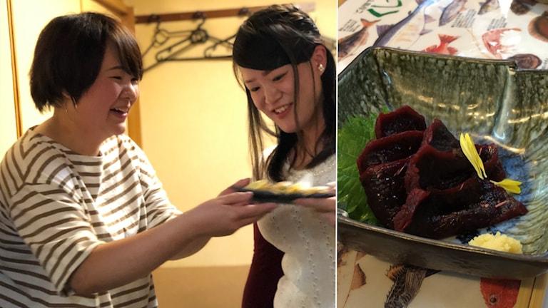 Bild på två tjejer som äter valkött + bild på valkött