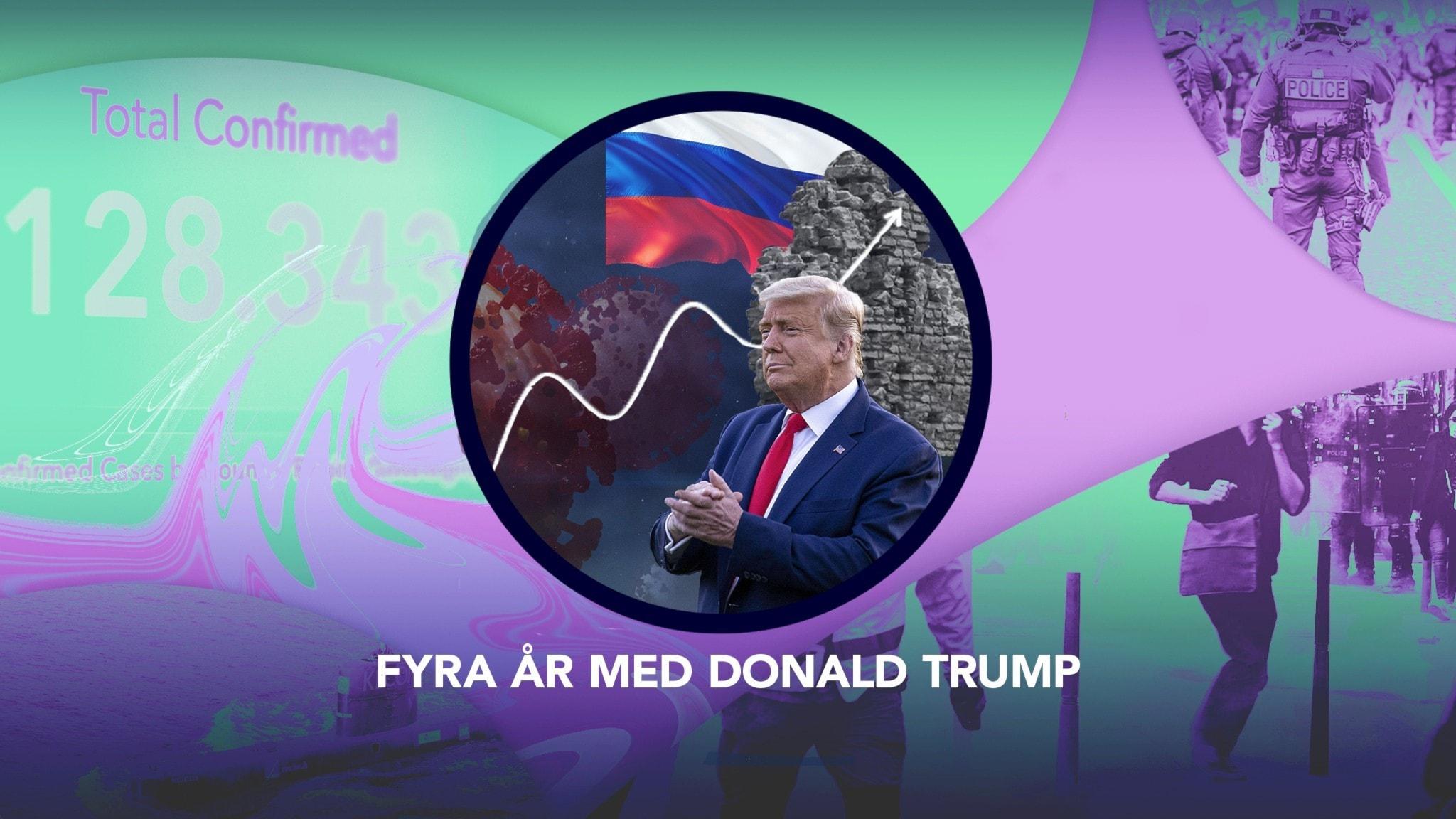 """P3 Nyheter Dokumentärs omslagsbild, samt en bild på USA:s president Donald Trump. Under den står dokumentärens titel """"Fyra år med Donald Trump""""."""