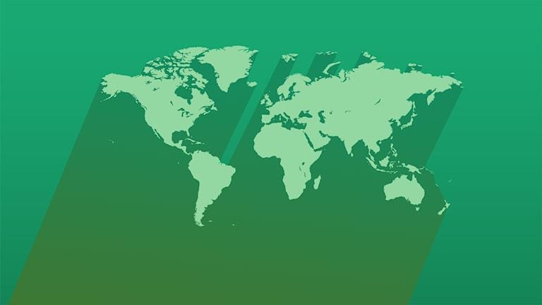 Världskarta i ljust grön, på mörkare grön bakgrund och med en lång skugga.