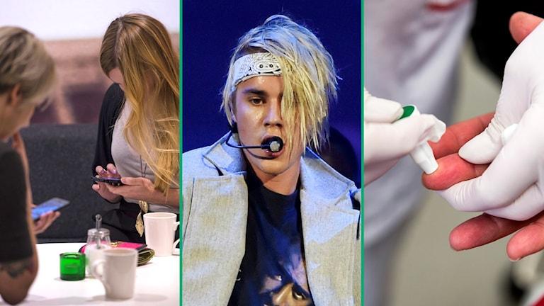 Mobilberoende, Justin Bieber och en person som lämnar ett blodprov