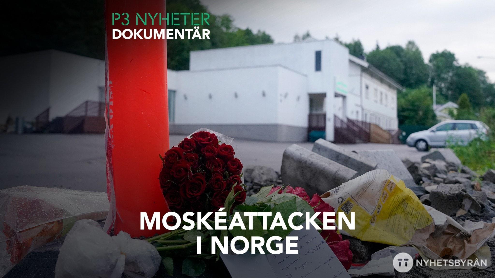 Blommor, röd ros i förgrunden. En vit byggnad, moskén, i bakgrunden.