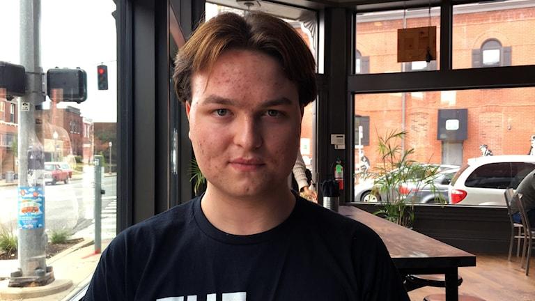 Brian Wingbermuhele från Students Demand Action i St Louis. De kräver striktare vapenlagar. Foto: Palmira Koukkari Mbenga/Sveriges Radio