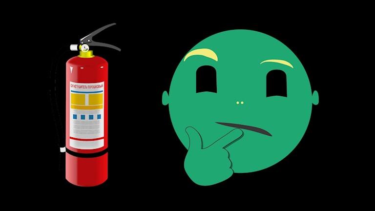 Bild på en bransläckare och en emoji med fundersam min.