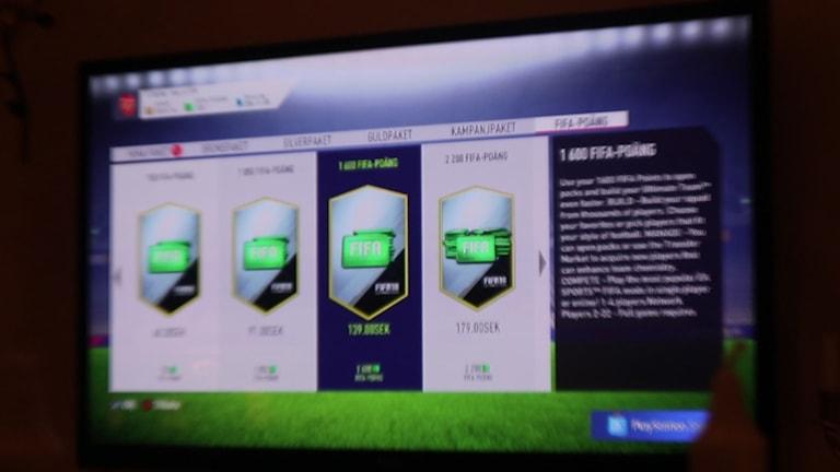 En bild av Fifa-packs som man kan köpa i spelet
