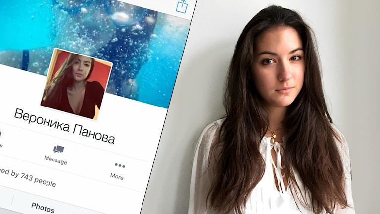 Bild på Sanja och en skärmdump av det fejkade kontot.