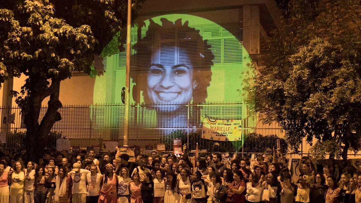 Projicering av mördade Marielle Franco
