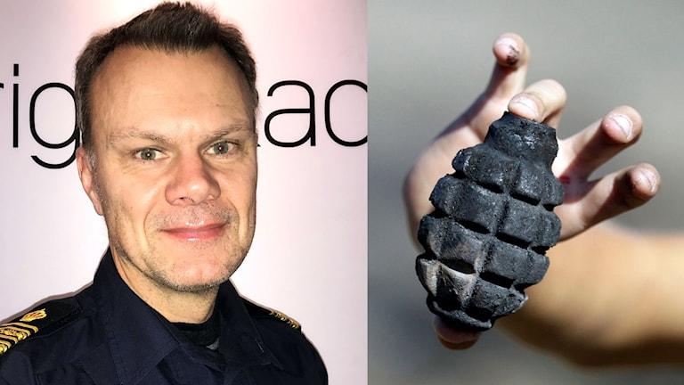 Delad bild: polis och en handgranat