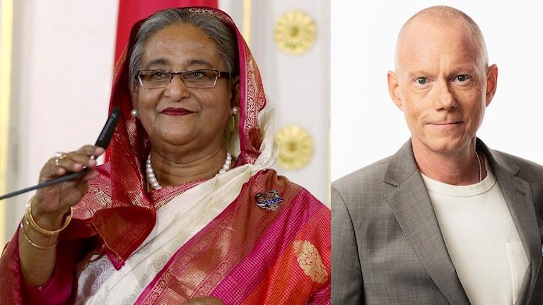 Bangladesh premiärminister Sheikh Hasina. Peder Gustafsson, Sveriges Radio korrespondent.