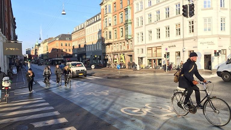Cykelväg nära Dronning Louises Bro på Nørrebro i Köpenhamn.