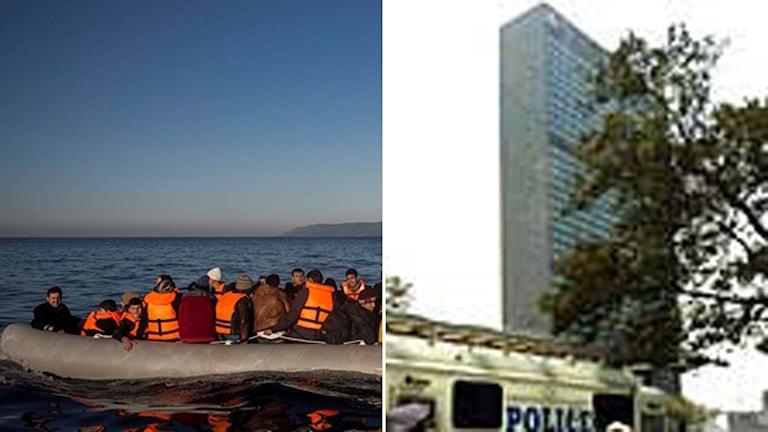 Flyktingar och migranter i en gummibåt. FN-skrapan i New York.