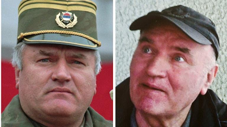 Ratko Mladic 1995 respektive 2011. Foto: Oleg Stjepanovic/Scanpix.