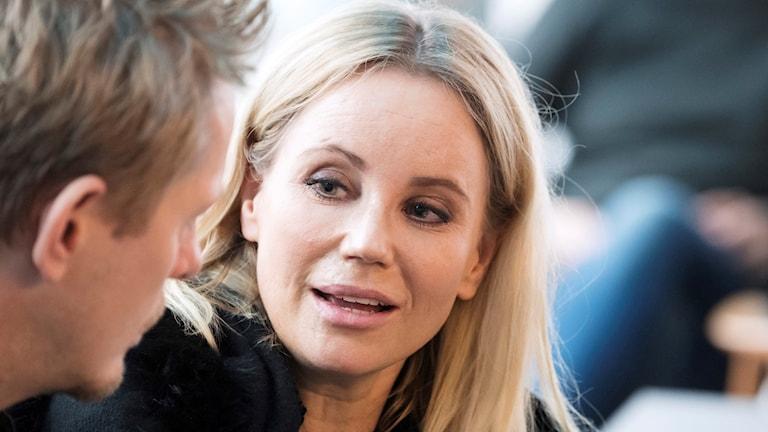 Thure Lindhardt och Sofia Helin vid onsdagens pressträff på DR i Köpenhamn inför premiären av Bron IIII.