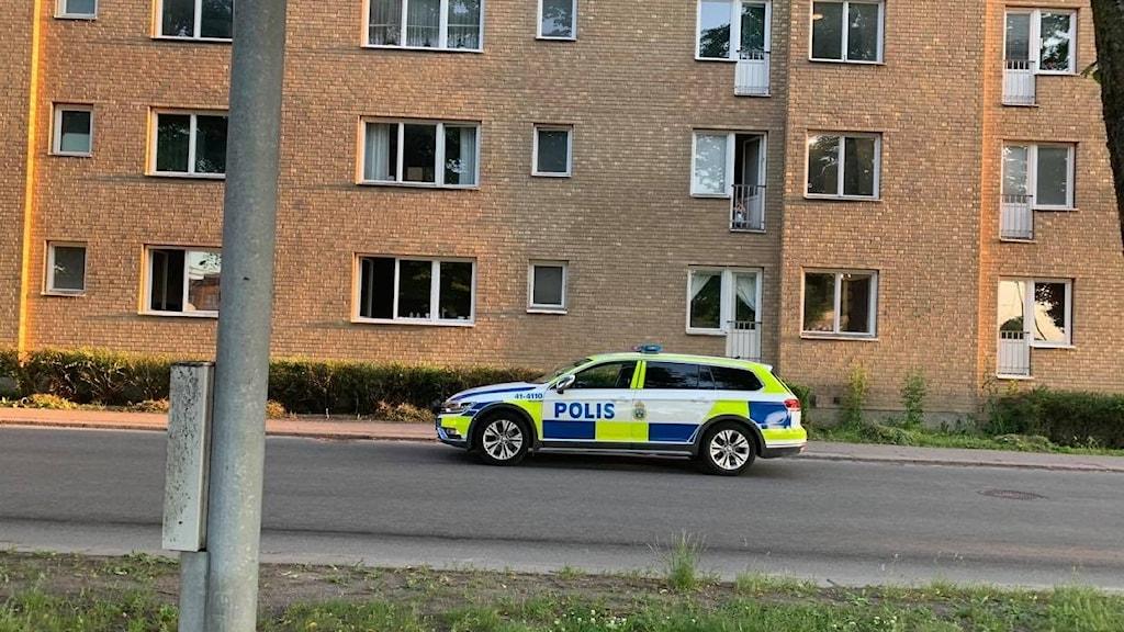 en polisbil kör på en tom gata. En lyktstolpe och gräs i förgrunden ett hyreshus i bakgrunden.