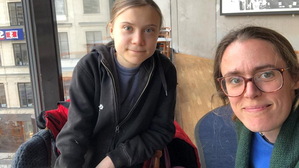 Greta Thunberg och Lotten Collin.
