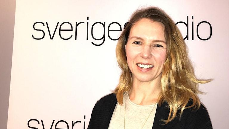 Lisa Steneberg, miljösamordnare på Statens institutionsstyrelse på besök i P1-morgons studio