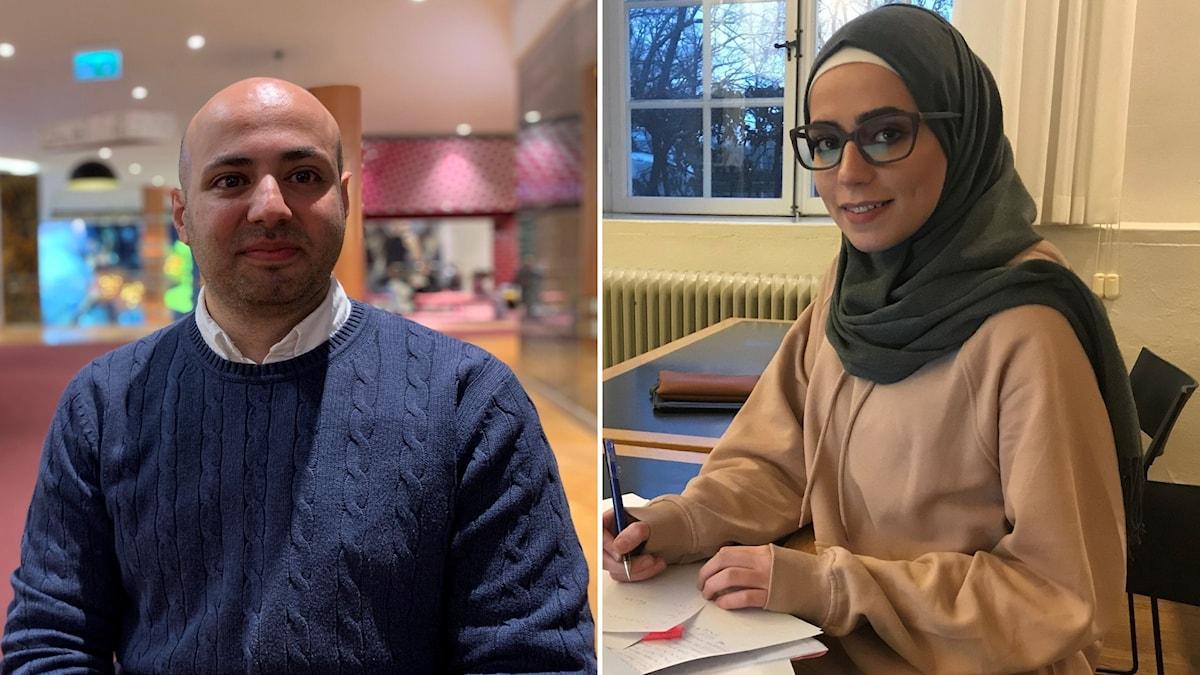 Mouhannad Sharabati, jurist från Malmö, som inte tycker att en bojkott av franska varor är rätt väg.  Dima Zidan, studerar på KTH i Stockholm, som har bestämt sig för att bojkotta franska varor.