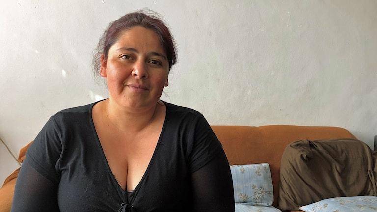 Natalia Pérez, änka till Alex Núñez som misshandlades till döds av polisen i samband med protesterna i Chile förra veckan.