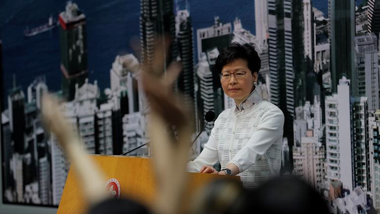 Hongkongs chefsminister Carrie Lam vid en presskonferens tidigare i veckan.