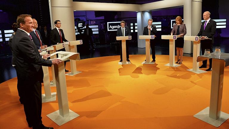 Partiledardebatt i SVT. Foto: Jonas Ekstömer/TT