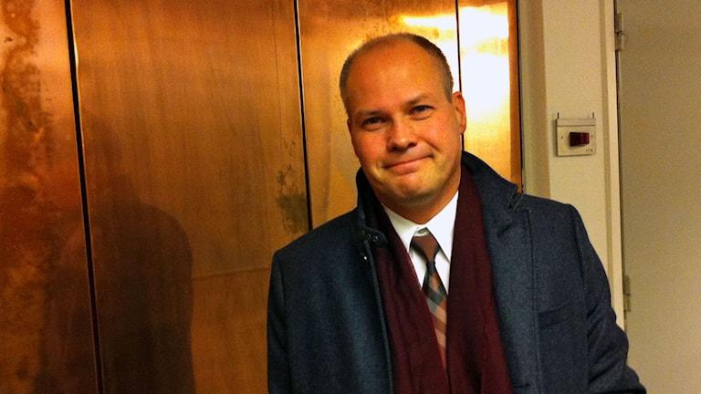 Morgan Johansson (S), migrationsminister, besöker P1-morgon. Foto.: Sveriges Radio.