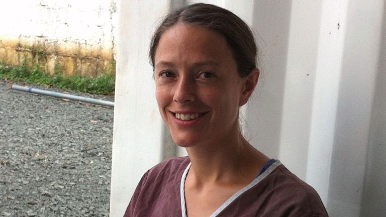 Läkaren Helena Nordenstedt jobbar på en ebolaklinik i Monrovia. Foto: Margareta Svensson/Sveriges Radio