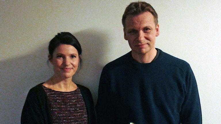 Augustpristagarna Kristina Sandberg och Jakob Wegelius. Foto: Sveriges Radio