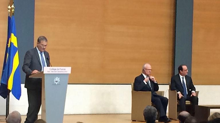 Klimatdiskussioner på en internationell konferens som Sverige var med och arrangerade i Paris för några dagar sen. Foto: Beatrice Janzon/Sveriges Radio