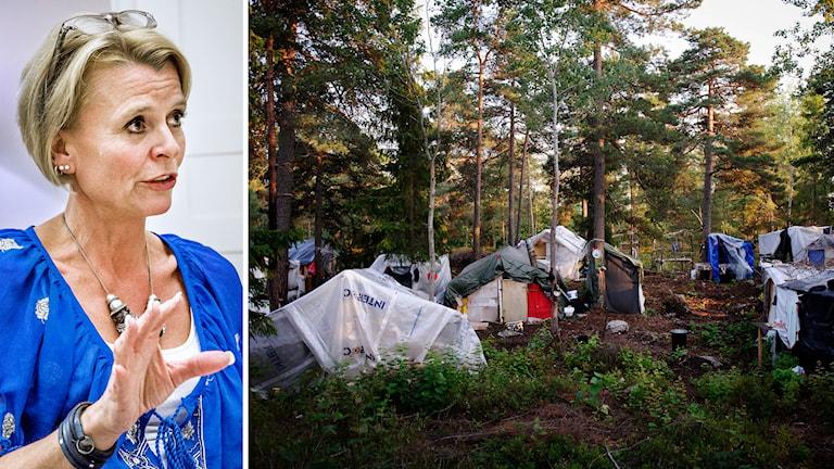Åsa Regnér (S), barn-, äldre- och jämställdhetsminister - romskt läger i Stockholm. Foto: TT