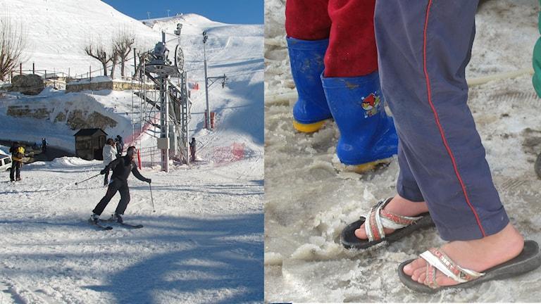 Skidåkning och flyktingbarn utan skor i Libanon. Foto: Katja Magnusson/Sveriges Radio.