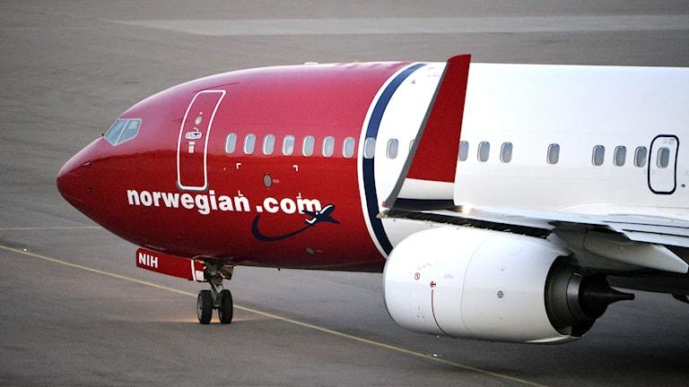 Ett Boeing 737-800 flygplan tillhörande det norska flygbolaget Norwegian. Bild: TT